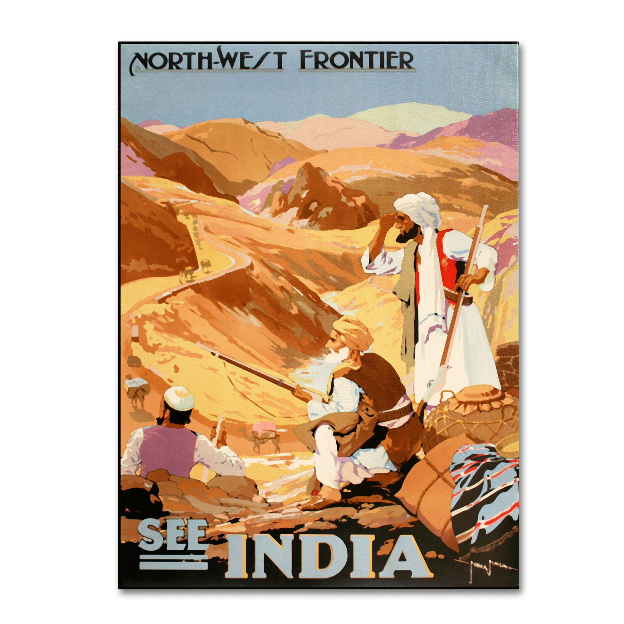 Trademark Fine Art See India Artwork by Vintage Apple Collection, 30 by 47-Inch Canvas Wall Art