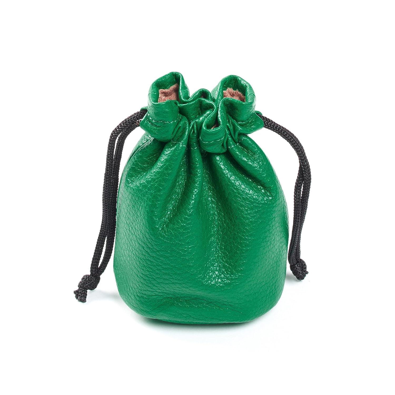 Small Green Full Grain Leather Drawstring Bag