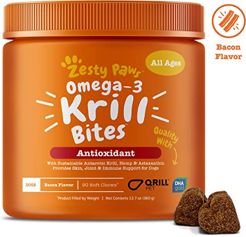 Omega 3 Krill Fish Oil for Dogs – Hip Joint Arthritis Relief Skin Coat Health Supplements – With Qrill Pet Meal DHAgold Hemp Astaxanthin – Brain, Heart Immune Support – 90 Chew Treats