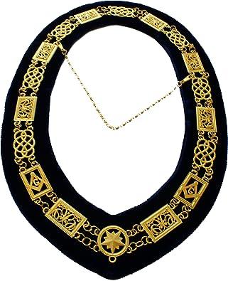 Masonic Blue Lodge Metal Sun Gold Chain Collar /& Velvet Backing