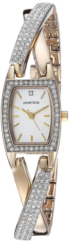 Armitron Women s 75 5242SVTT Swarovski Crystal Accented Organic Shaped Two-Tone Bangle Watch