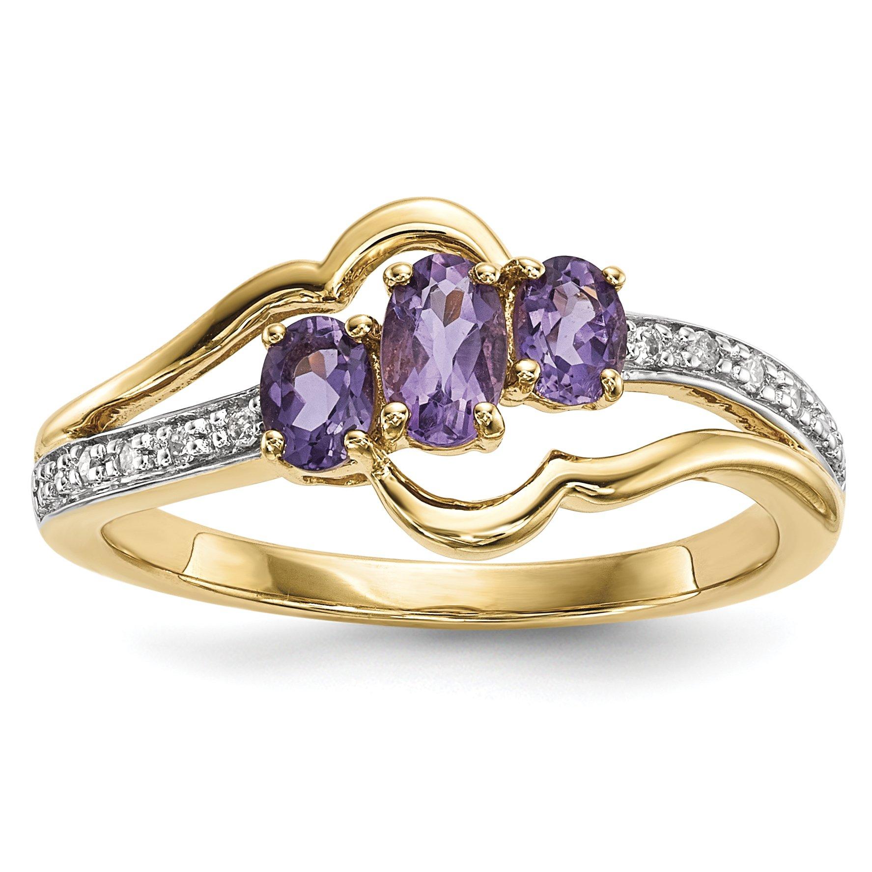 ICE CARATS 14k Yellow Gold Purple Amethyst Diamond Band Ring Size 7.00 Gemstone Fine Jewelry Gift Set For Women Heart
