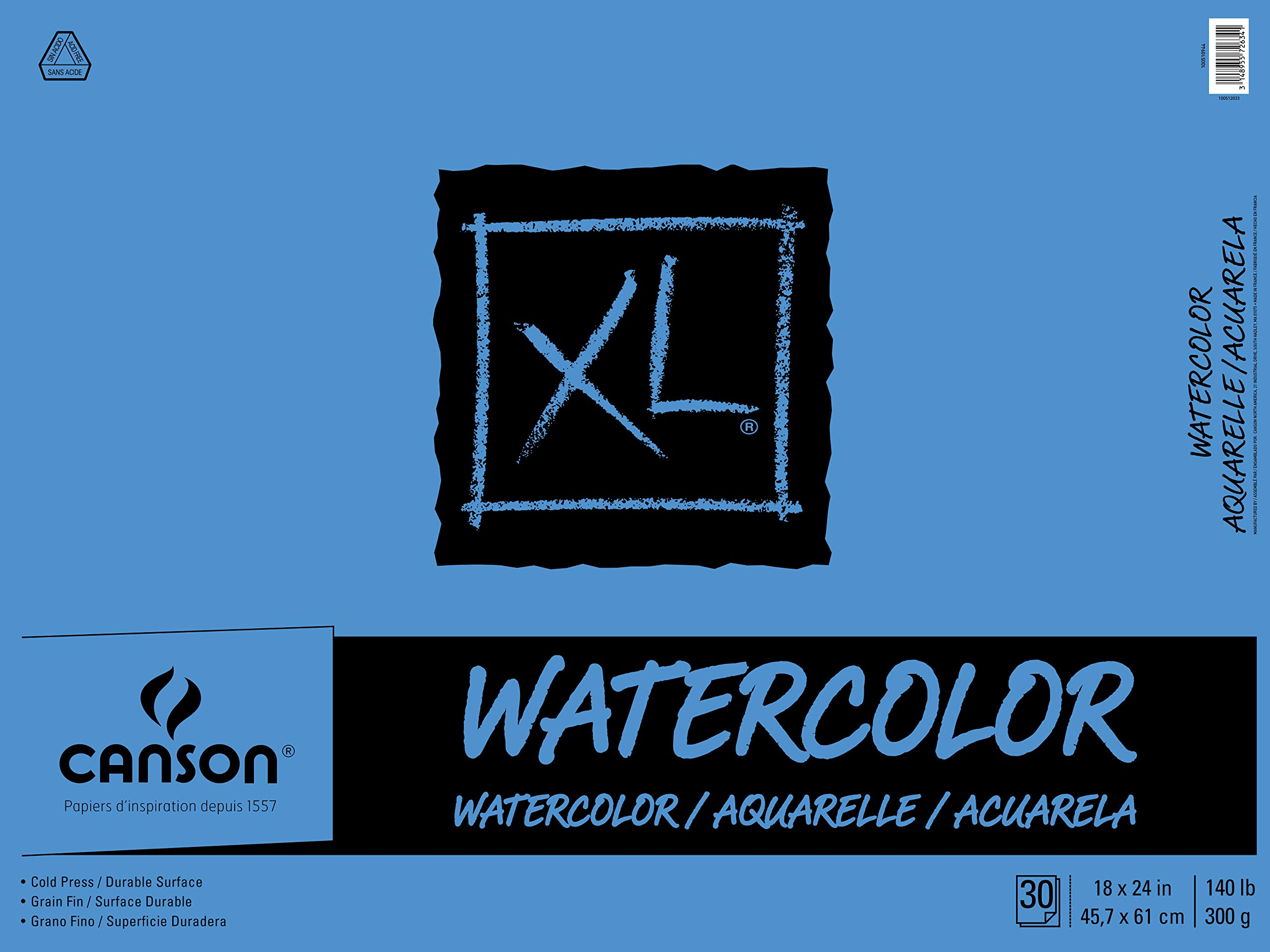 Canson XL Series Watercolor Textured Paper Pad for Paint, Pencil, Ink, Charcoal, Pastel, and Acrylic, Fold Over, 140 Pound, 18 x 24 Inch, 30 Sheets by Canson