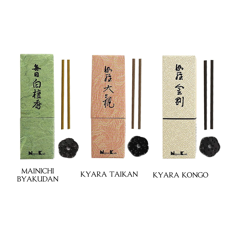 ニッポン コド - 優れたコレクションバンドル (マイニチビャクダン、ジンコジュザン、キアラコンゴ各24本) B07Q2WNV39
