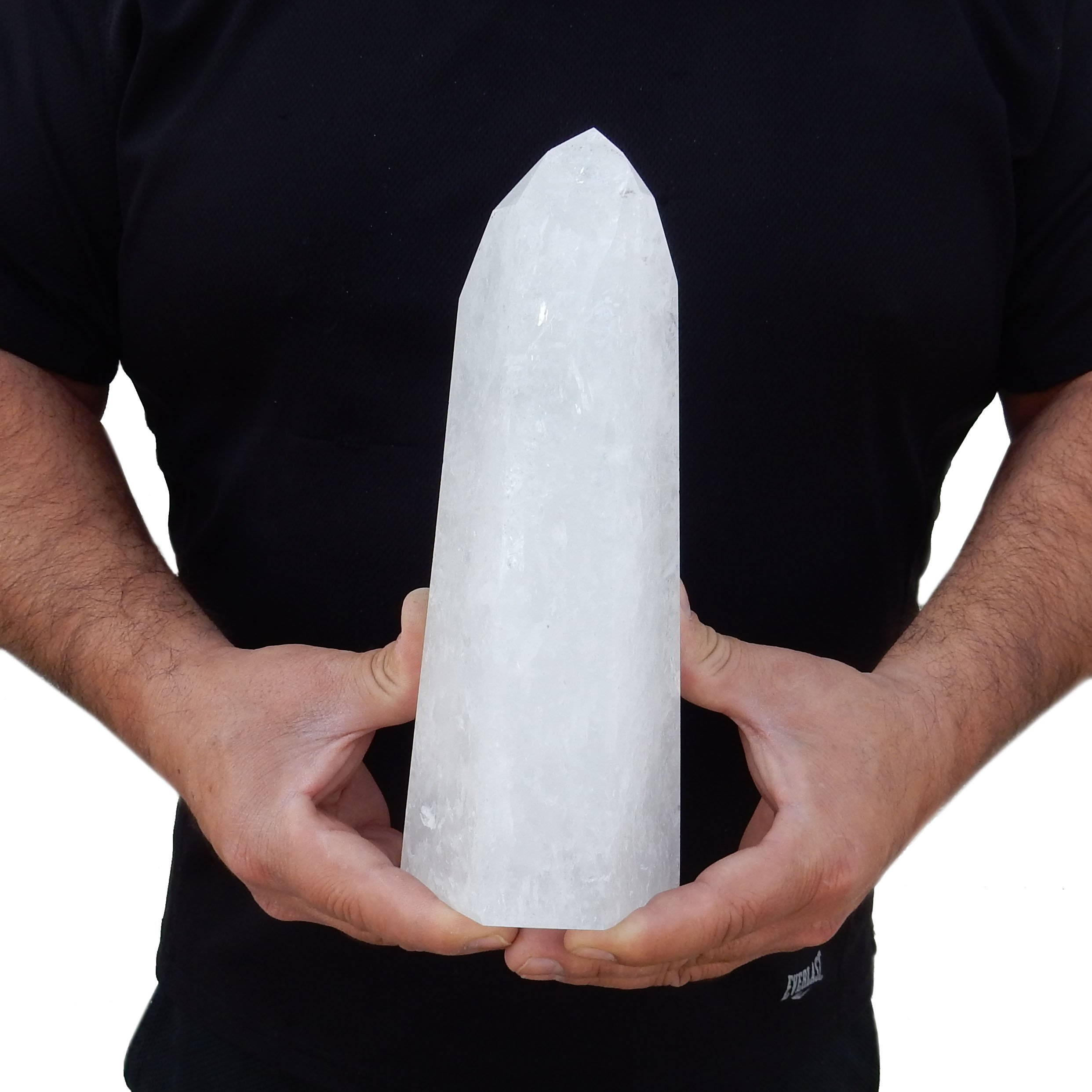 Gorgeous ''Lit'' Crystal Quartz Natural Clear Quartz with LED Stand/Light - Free Standing Obelisk Tower with 6 facet point (S2B4-01)