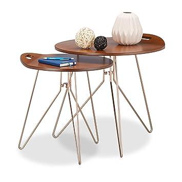 Relaxdays tables dappoint gigognes lot de 2 en bois cadre métal design rétro noyer