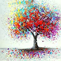 Diamond Painting by Number Kits DIY Full Drill Crystal Rhinestone Cross Stitch Embroidery Arts Craft Picture Supplies for Home Wall Decor - Colorful Tree 12x12 inches