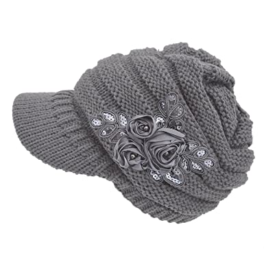 63efe1d825f Tuopuda Women s Cable Knit Visor Hat with Flower Accent Ladies Winter  Crochet Peaked Beanie Cap (
