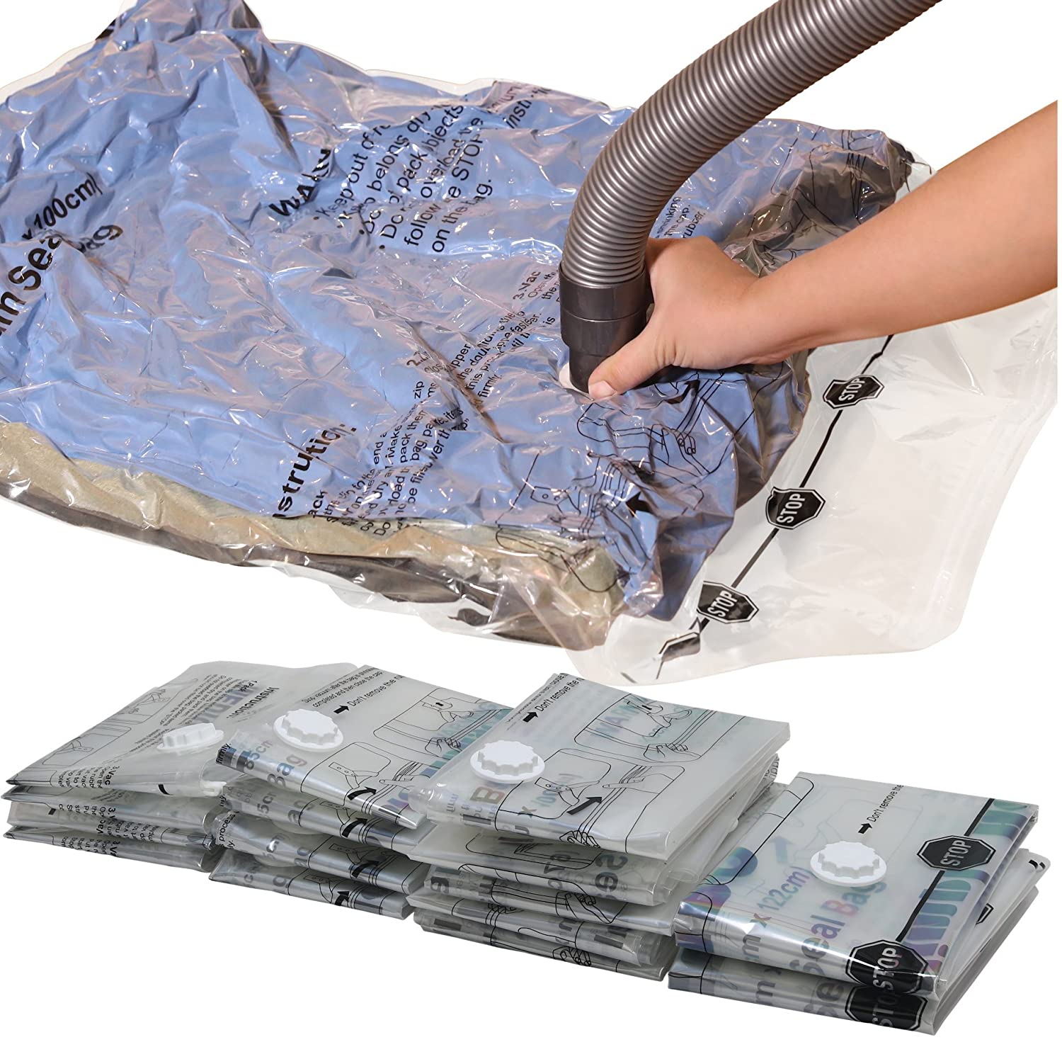 Simple Houseware 15 Vacuum Storage Bags to Space Saver for Bedding, Pillows, Towel, Blanket, Clothes Bags (2 x Jumbo, 5 x Extra Large, 4 x Large, 4 x Medium)