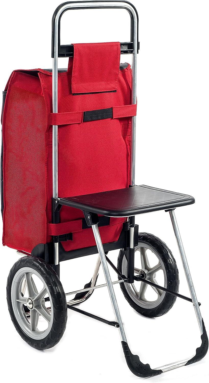 Aurora Einkaufstrolley Fajena mit Klappsitz /& K/ühlfach in rot mit 65L abnehmbaren fl/üster R/ädern Einkaufsroller Trolley bis 50kg belastbar mit gro/ßen