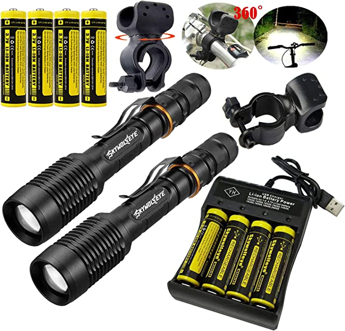 Details about  /2x 300000LM Tactical 5-Mode LED Rechargeable Flashlight Aluminum Torch Clip **
