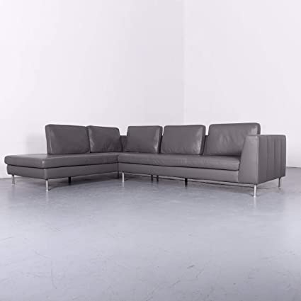 Amazon.com: Willi Schillig Designer Leder Sofa Grau Echtleder ...