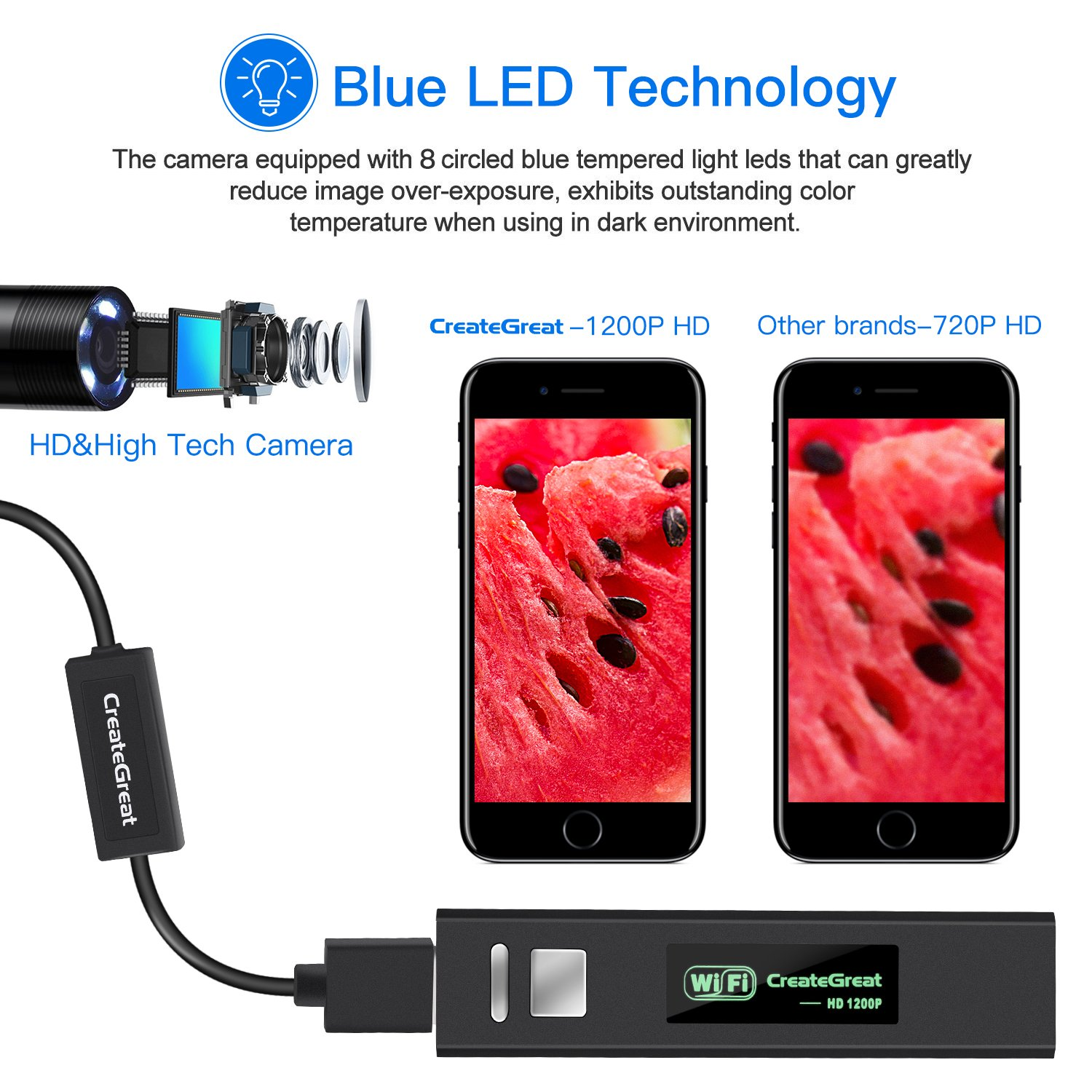 Wireless Endoscope,CreateGreat WiFi Borescope Inspection Camera 2.0 Megapixels 1200P HD Snake Camera with Top rated 8 pcs Adjustable Blue LED Technology for Android and IOS Smartphone,Iphone,Samsung,Macbook,Tablet to do Inspection Work
