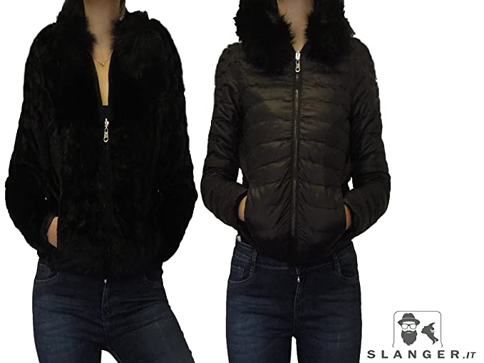 best service a8dc0 d0cf1 BOMBER SLOOK DOUBLE FACE GIACCA GIUBBOTTO PELLICCIA PIUMINO ...