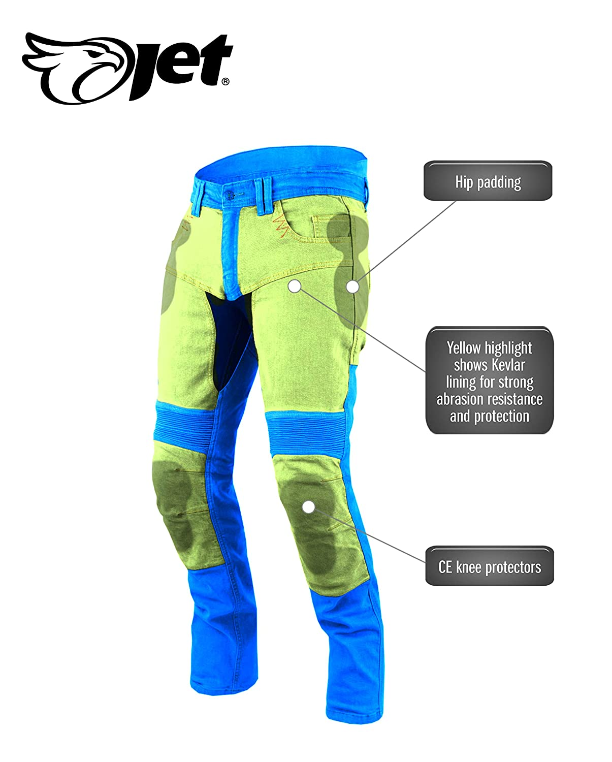 JET Motorcycle Jeans Kevlar Safety Trousers Aramid Lined CE Armoured Stretch Panels Tech Pro Grey, W 34 L 30