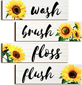 Jetec 4 Pieces Bathroom Wall Decor Signs Wash Brush Floss Flush Sunflowers Signs Rustic Bathroom Wooden Signs Sunflower Wood Wall Plaque Vintage Wooden Decor for Laundry Room Bathroom