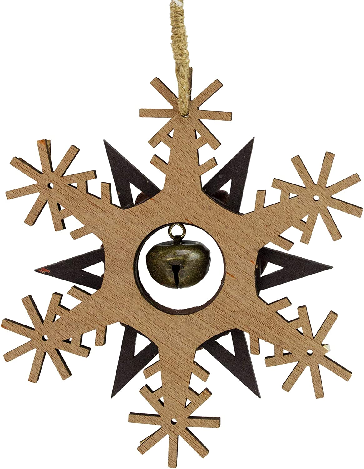 Amazon Com Northlight 6 Brown And White Wooden Snowflake Christmas Ornament Home Kitchen