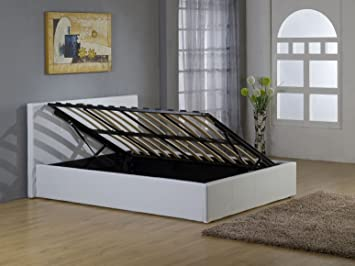 21b03249349e Image Unavailable. Image not available for. Colour: bedsandbeds limited  4ft6 Double White Faux Leather Side Lift Up Ottoman Storage Gas Lift Up Bed