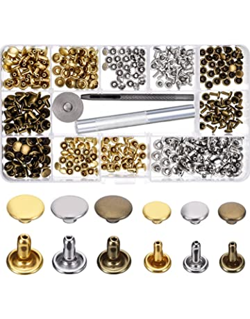 Bememo 180 Set 2 Sizes Leather Rivets Double Cap Rivet Tubular Metal Studs with 3 Pieces