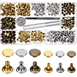 180 Set 2 Sizes Leather Rivets Double Cap Rivet Tubular Metal Studs with 3 Pieces Fixing Tool for DIY Leather Craft, Rivets Replacement, 3 Colors (Gold, Silver and Bronze)