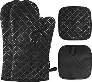 Slopehill Oven Gloves and Pot Pads 4 Pcs Set, Heat Resistant Kitchen Silicone Oven Mitts with Soft Cotton Lining and Non-Slip Surface Safe for Baking, Cooking, BBQ - Black