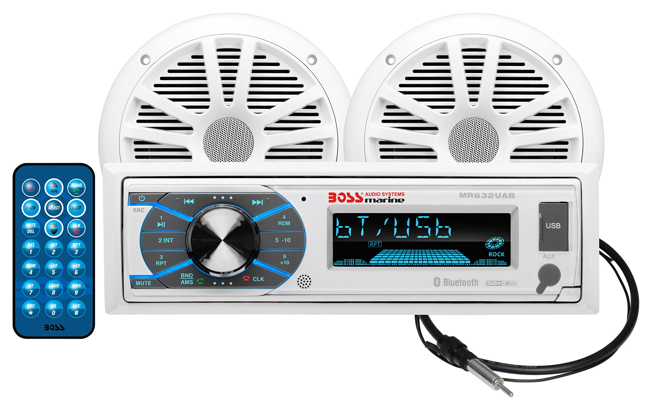 BOSS Audio MCK632WB.6 Marine Receiver & Speaker Package - Weatherproof Receiver with Bluetooth Audio/USB/MP3/AM/FM/Aux-in (No CD Player), Two 6.5'' Weatherproof Speakers, One Marine Dipole Antenna