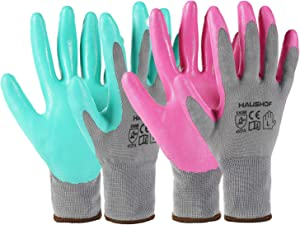 HAUSHOF 6 Pairs Garden Gloves for Women, Nitrile Coated Working Gloves, for Gardening, Restoration Work, Large, Pink & Green, L