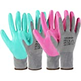 HAUSHOF 6 Pairs Garden Gloves for Women, Nitrile Coated Working Gloves, for Gardening, Restoration Work, Large, Pink…