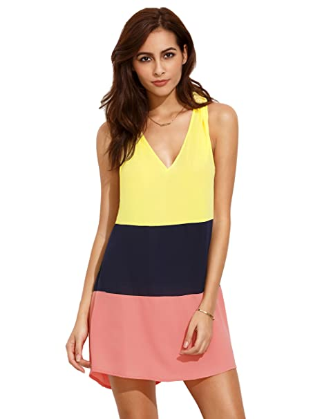 SHEIN color block – V cuello nudo espalda vestido sin mangas de la mujer