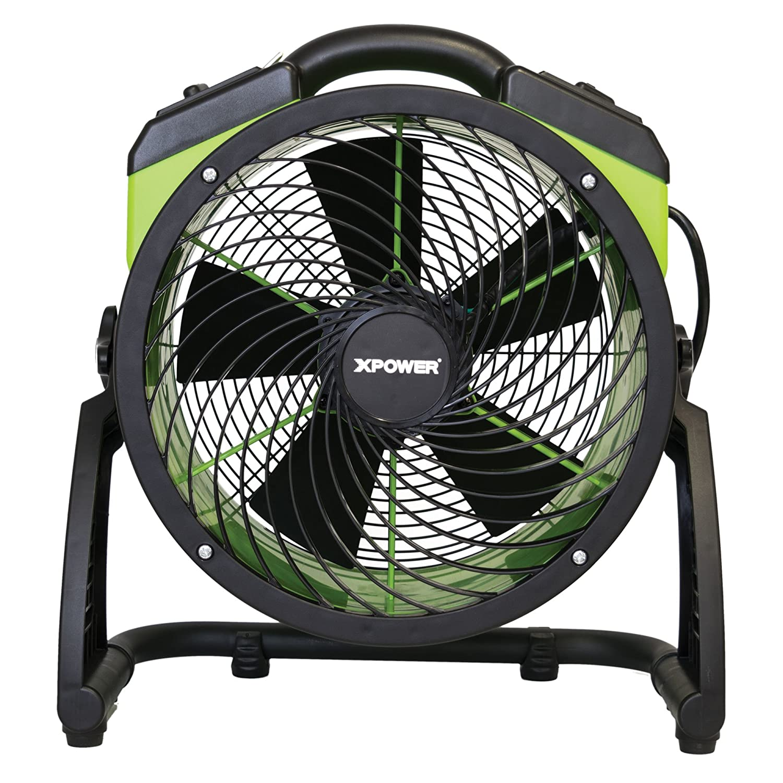 XPOWER FC-200 Heavy Duty Whole Room Air Circulator Fan, Carpet Dryer, Floor Fan, Blower – 13 Diameter Multipurpose Shop Fan- Green
