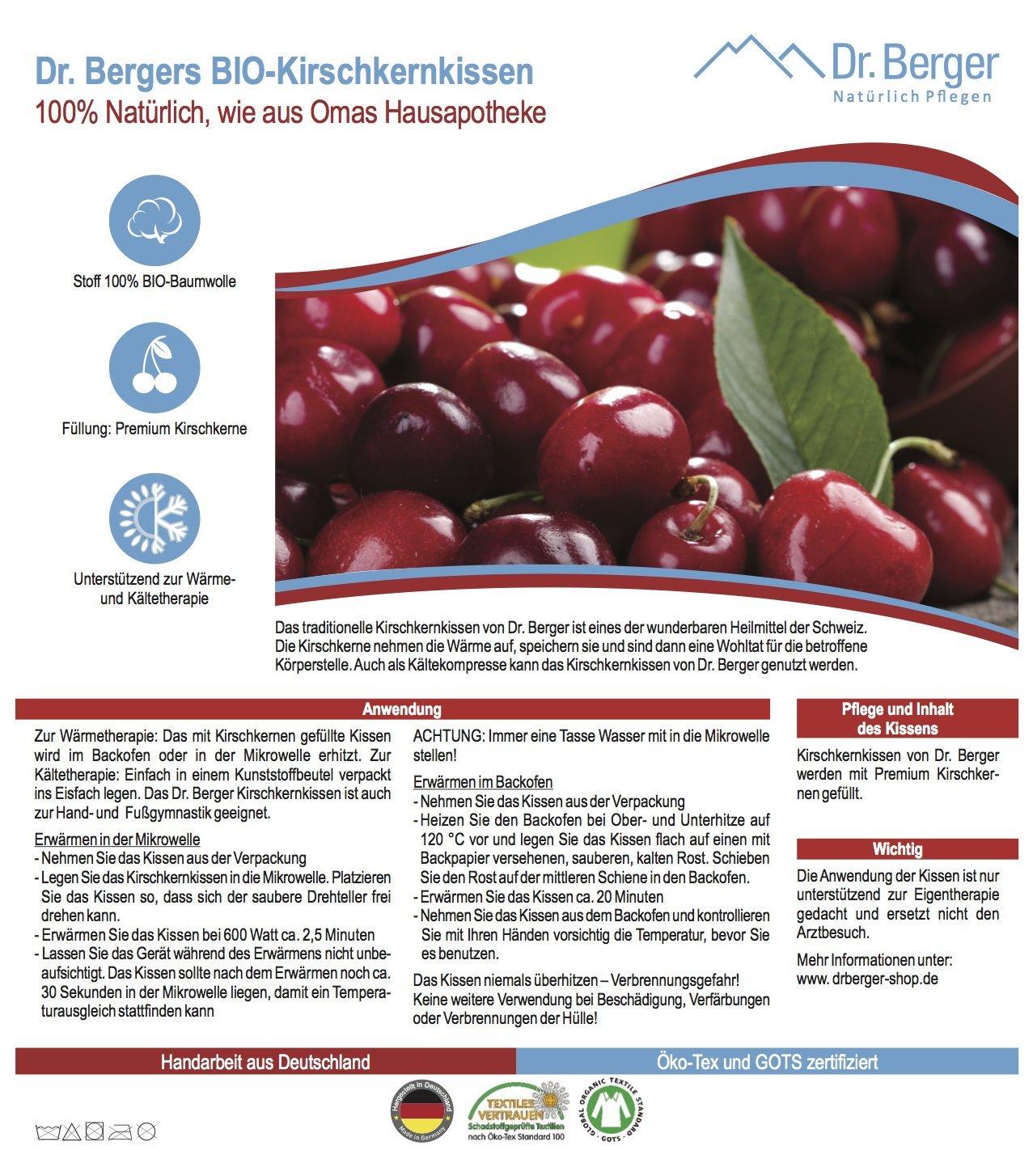 und K/ältetherapie* 25x25cm Original Dr Berger Bio-Kirschkernkissen *W/ärme