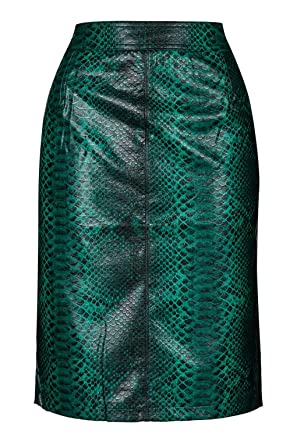 3ab4fac67 Topshop Python Green Faux Snakeskin Pencil Midi Skirt Split Back UK 10 US 6  RRP £