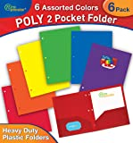 New Generation - 6 PACK 2 Pocket Poly / Plastic Folder 3 HOLE PUNCHED, Heavy Duty , Sturdy and Waterproof Folder for Office and School, with built-in slots for business cards. (MULTI COLOR)