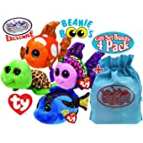 "TY Beanie Boos ""Sea Creatures"" Zippy (Sea Turtle), Sami (Orange Fish), Flippy (Multi-color Fish) & Aqua (Blue Fish) Gift Set Bundle with Bonus ""Matty's Toy Stop"" Storage Bag - 4 Pack"