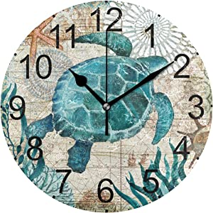 LUCASE LEMON ALEX Blue Sea Turtle Nautical Map Round Acrylic Wall Clock Non Ticking Silent Clocks for Home Decor Living Room Kitchen Bedroom Office School