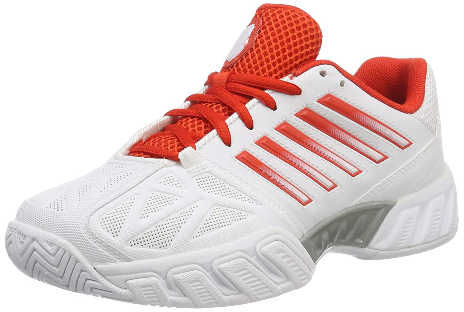 K-Swiss Bigshot Light 3 Womens Tennis Shoe B07944NJ2Z 8.5 B(M) US|White/Fiesta/Silver