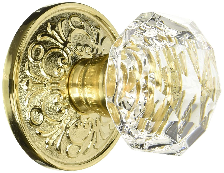 Lancaster Rosette with Diamond Knobs Passage in Antique Brass Knob Sets.