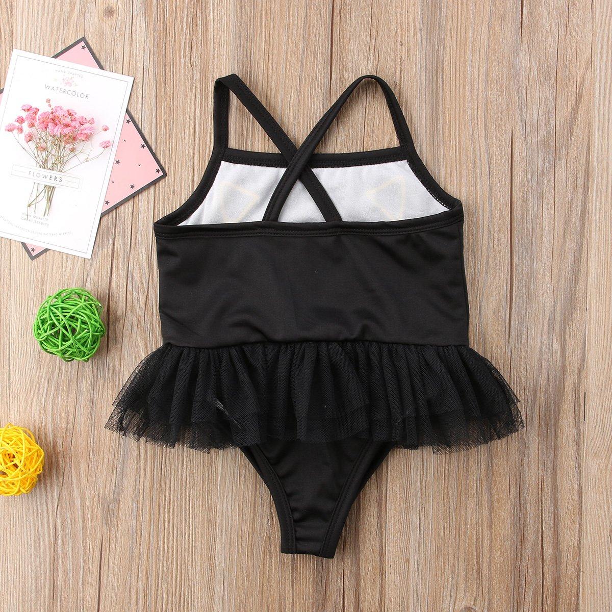 24ad42641b Amazon.com: Kid Toddler Baby Girls Bathing Suit Cat Face One Piece Swimsuit  Swimwear: Clothing