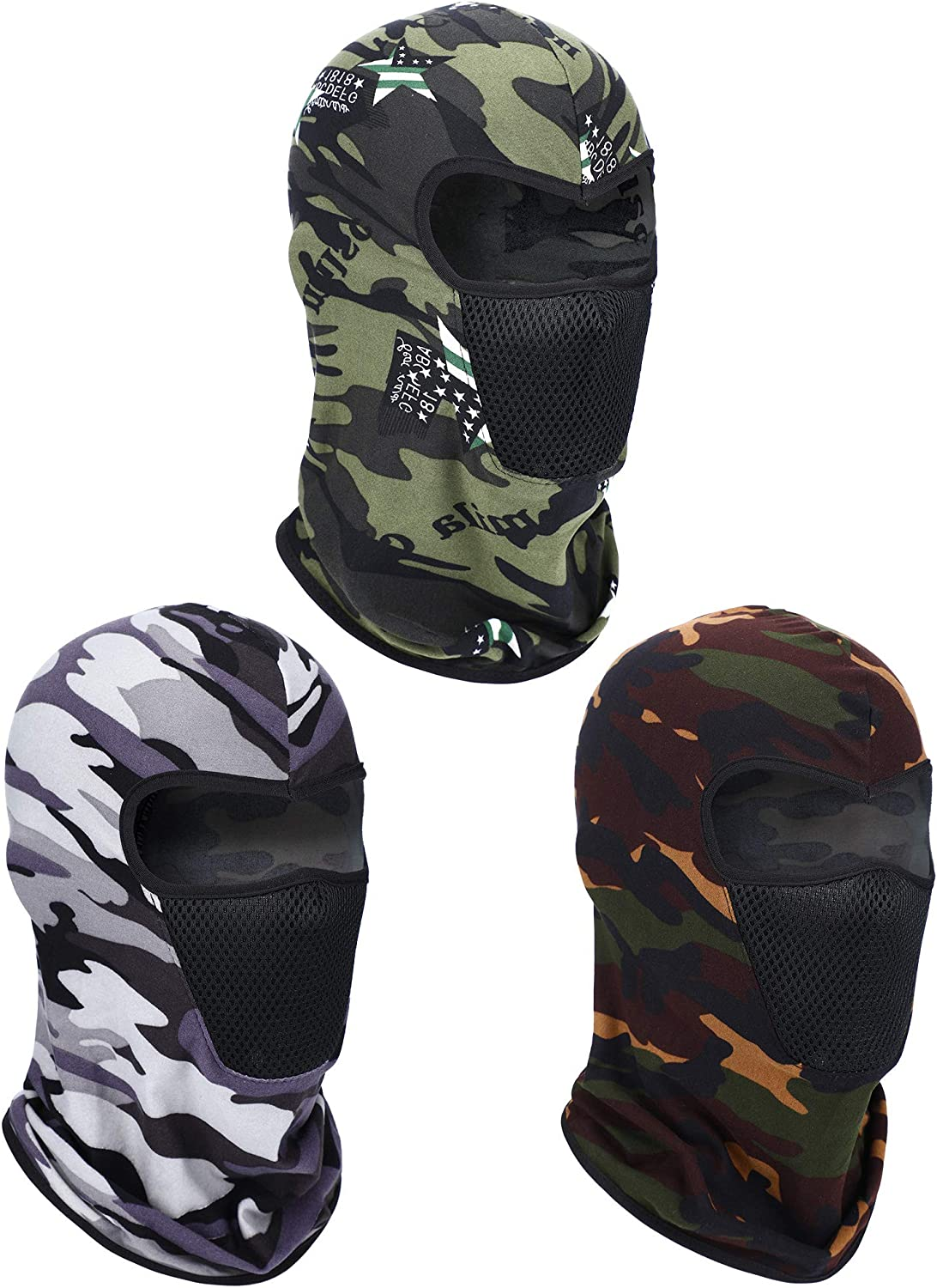 3 Pieces Summer Balaclava Face Cover Breathable Full Face Cover Windproof Full Face Cover for Outdoor Activities Favors(Camouflage)