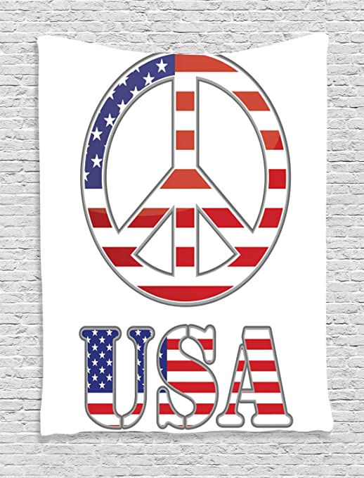 ABAKUHAUS Hippie Tapiz de Pared, 70 Signo de la Paz Americano ...