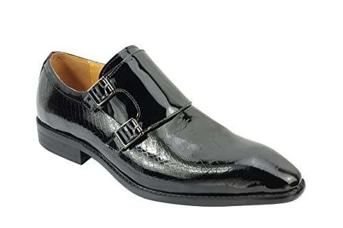 1a268f456a833 Xposed New Mens Real Patent Leather Black Vintage Monk Strap Loafers ...