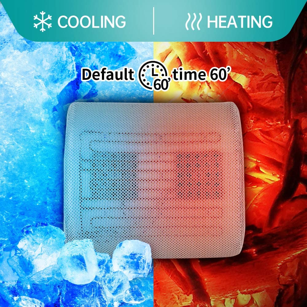 Sooswel Cooling Car Seat Cushion-Far Infrared Heated Car Cushion for Back Pain Relief Memory Foam for Lumbar Support in Car