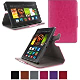 "Amazon Kindle Fire HDX 7"" Case - roocase Orb System Folio 360 Dual View Leather Case Smart Cover (Magenta)"