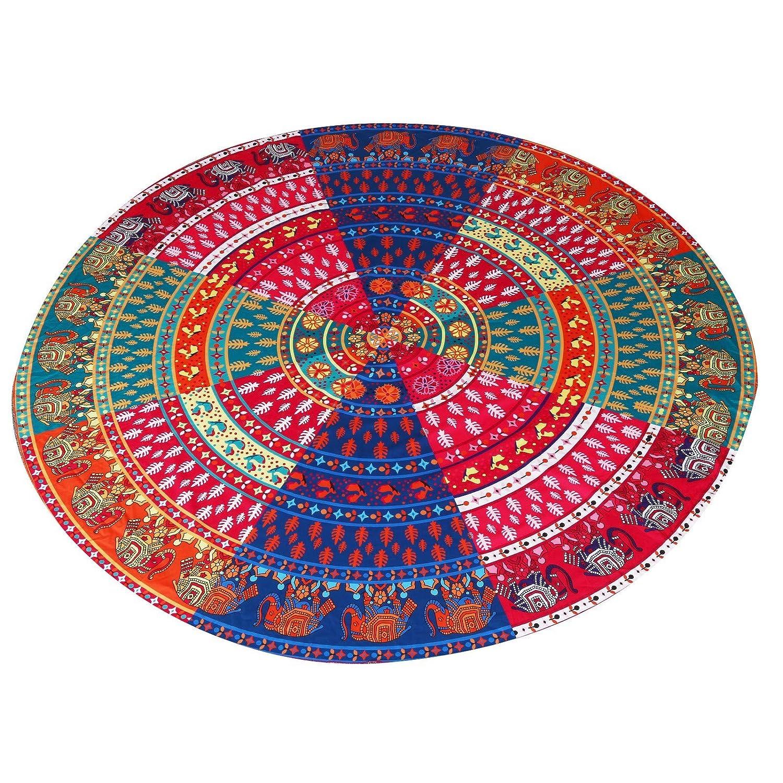Aiserkly Tapiz Redondo Hippie para Acampar, Playa, Toalla Redonda ...