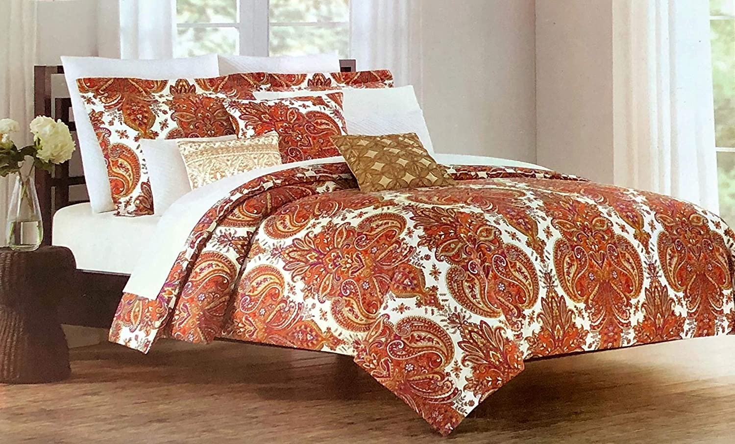 Cynthia Rowley 3pc Duvet Set Paisley Medallions in Shades of Orange Rust Yellow Purple on Cream Luxury Comforter Quilt Cover Set with Pillowcases/Shams - Paisley Garden, Spice (King)