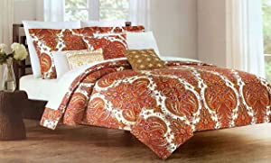 Cynthia Rowley 3pc Duvet Set Paisley Medallions in Shades of Orange Rust Yellow Purple on Cream Luxury Comforter Quilt Cover Set with Pillowcases/Shams - Paisley Garden, Spice (Full/Queen)