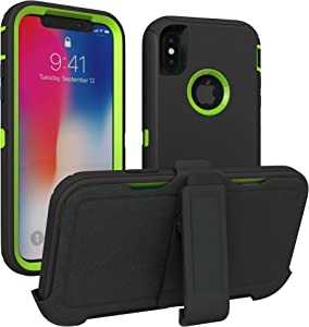 iPhone X Case, iPhone Xs Case, ToughBox [Armor Series] [Shock Proof] [Black | Lime] for Apple iPhone X Case [Comes with Holster & Belt Clip] [Fits OtterBox Defender Series Belt Clip]