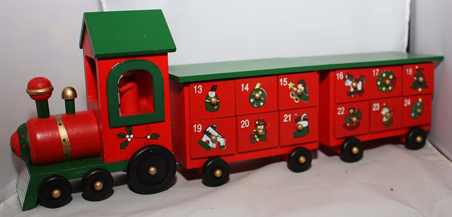 Wooden Train With Two Carriages Christmas Advent Calendar T Premier