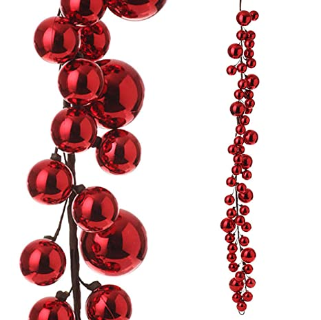 Christmas Ball Garland.Raz Imports 4 Red Christmas Ball Garland