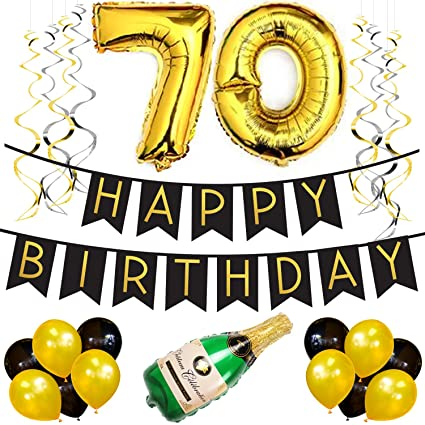 70th Birthday Party Pack Black Gold Happy Bunting
